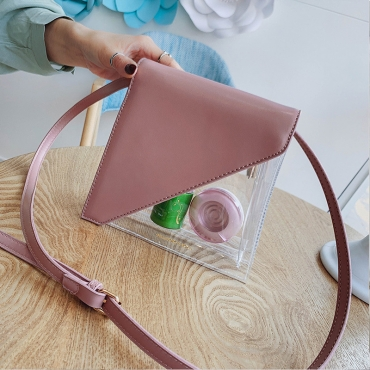 Lovely Stylish Patchwork See-through Light Pink Pvc Messenger Bag