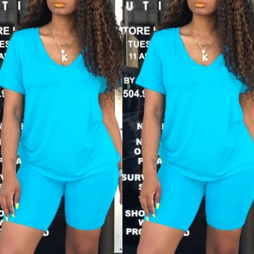 Lovely Casual V Neck Blue Two-piece Shorts Set