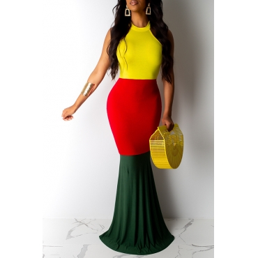 Lovely Casual O Neck Patchwork Yellow Floor Length Printed Dress