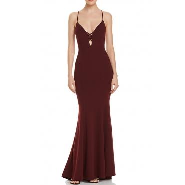 Lovely Sexy V Neck Spaghetti Straps Backless Wine Red Floor Length Dress