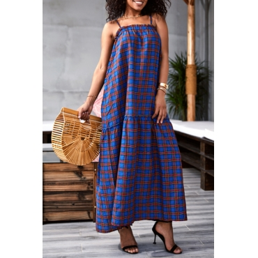 Lovely Casual Spaghetti Straps Plaid Printed Royalblue Ankle Length Dress