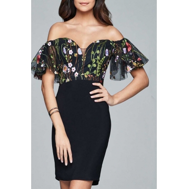 Lovely Stylish Off The Shoulder Printed Black Knee Length Prom Dress