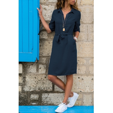 Lovely Casual Turndown Collar Buttons Design Lace-up Dark Blue Knee Length OL Dress
