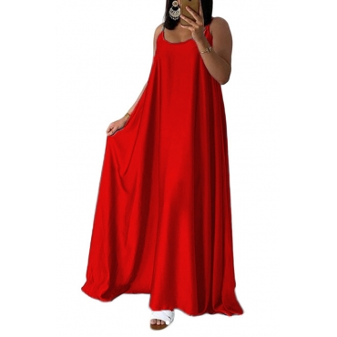 Lovely Casual U Neck Red Ankle Length Dress