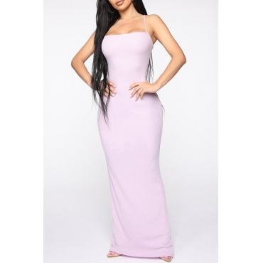 Lovely Sexy Spaghetti Straps Lace-up Hollow-out Light Purple Floor Length Dress