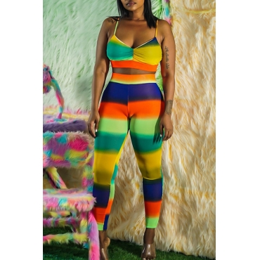 Lovely Casual Spaghetti Straps Striped Multicolor Two-piece Pants Set