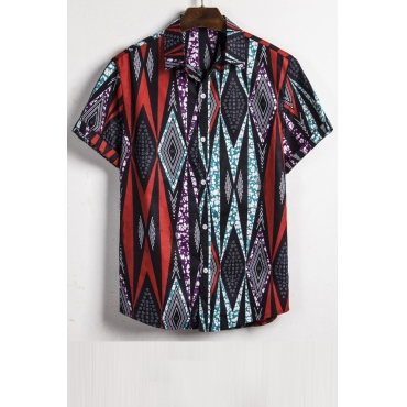 Lovely Casual Turndown Collar Printed Multicolor Shirt