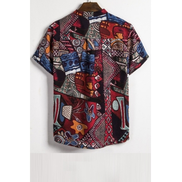 Lovely Casual Turndown Collar Printed Buttons Design Multicolor Shirt