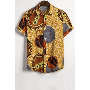 Lovely Casual Short Sleeve Printed Multicolor Shirt