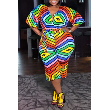 Lovely Casual V Neck Geometric Printed Multicolor Plus Size One-piece Jumpsuit