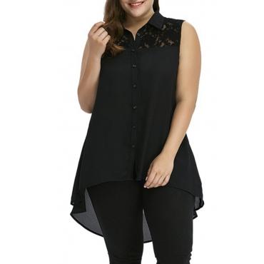 Lovely Stylish Asymmetrical Black Plus Size Blouse