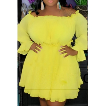 Lovely Stylish Off The Shoulder Ruffle Yellow Mini A Line Plus Size Dress