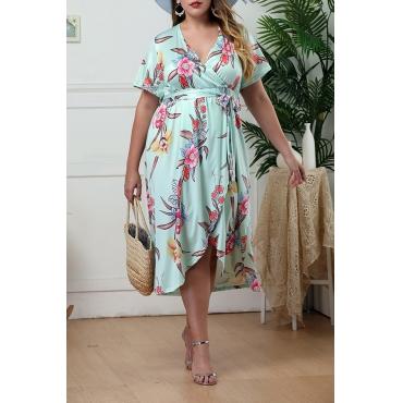 Lovely Bohemian V Neck Printed Asymmetrical Green Knee Length Plus Size Dress
