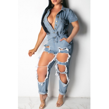 Lovely Stylish Broken Holes Baby Blue Denim One-piece Jumpsuit
