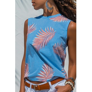 Lovely Casual Printed Blue Tank Top