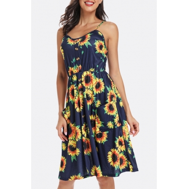 Lovely Casual Spaghetti Straps Sunflower Printed Deep Blue Knee Length A Line Dress