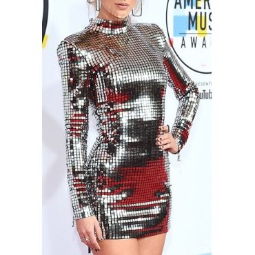Lovely Casual Turtleneck Sequins Decoration Silver Mini OL Dress