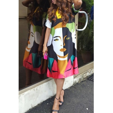 Lovely Casual O Neck Printed Multicolor Knee Length Dress