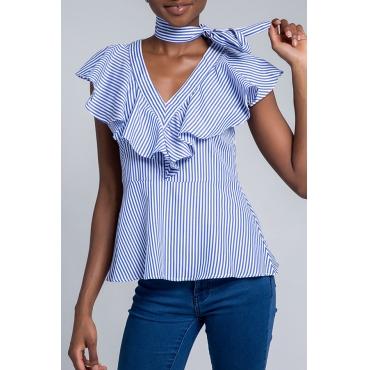 Lovely Stylish V Neck Striped Ruffle Blue Blouse
