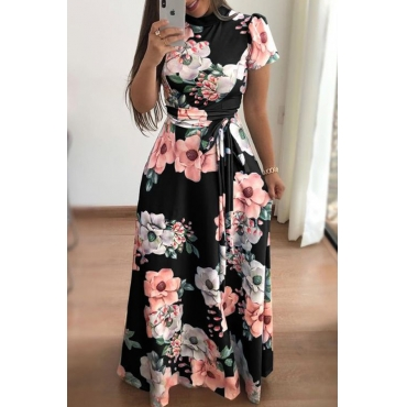 Lovely Bohemian Floral Printed Black Floor Length Dress