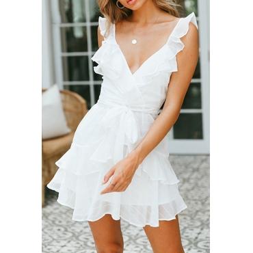 Lovely Stylish V Neck Ruffle Design White Mini Dress
