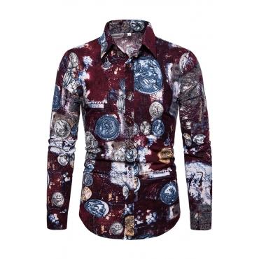 Lovely Stylish Turndown Collar Printed Jujube Red Shirt