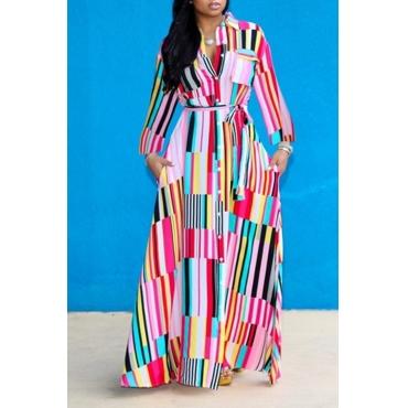 Lovely Bohemian Turndown Collar Striped Multicolor Floor Length A Line Plus Size Dress