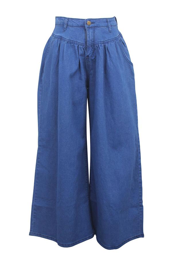 Lovely Stylish High Waist Drape Design Deep Blue Jeans