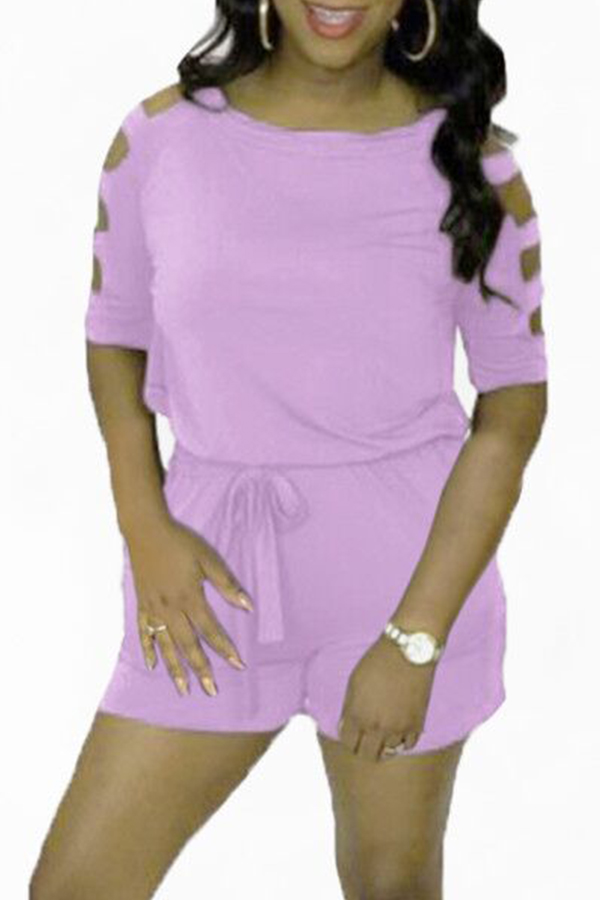 Lovely Casual Hollow-out Light Purple Loose One-piece Romper