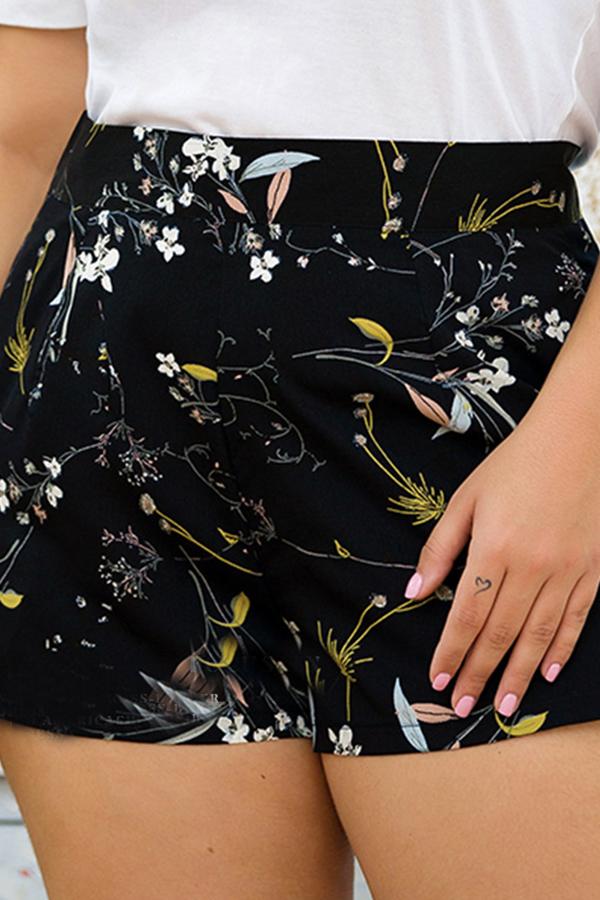 Lovely Bohemian High Waist Printed Black Plus Size Shorts