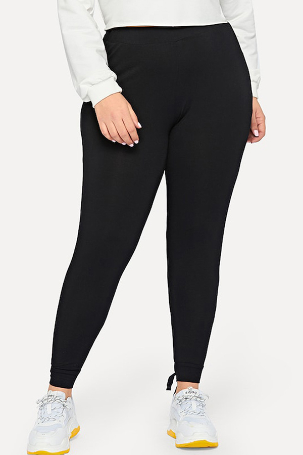 Lovely Casual Knot Design Black Plus Size Pants
