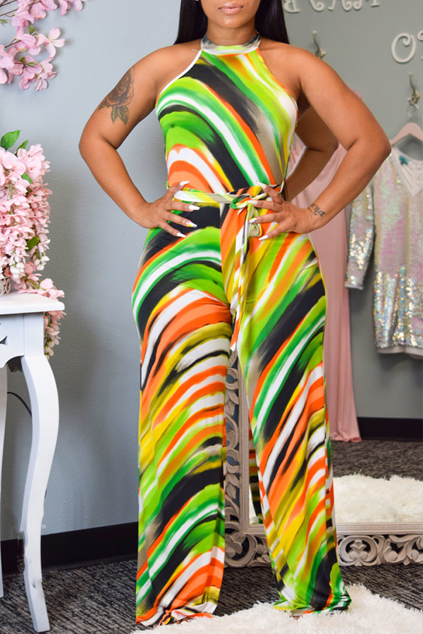 Lovely Leisure Print Green One-piece Jumpsuit