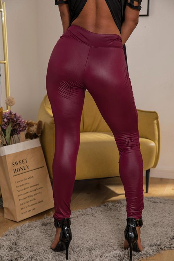 Lovely Casual High Waist Wine Red Leggings