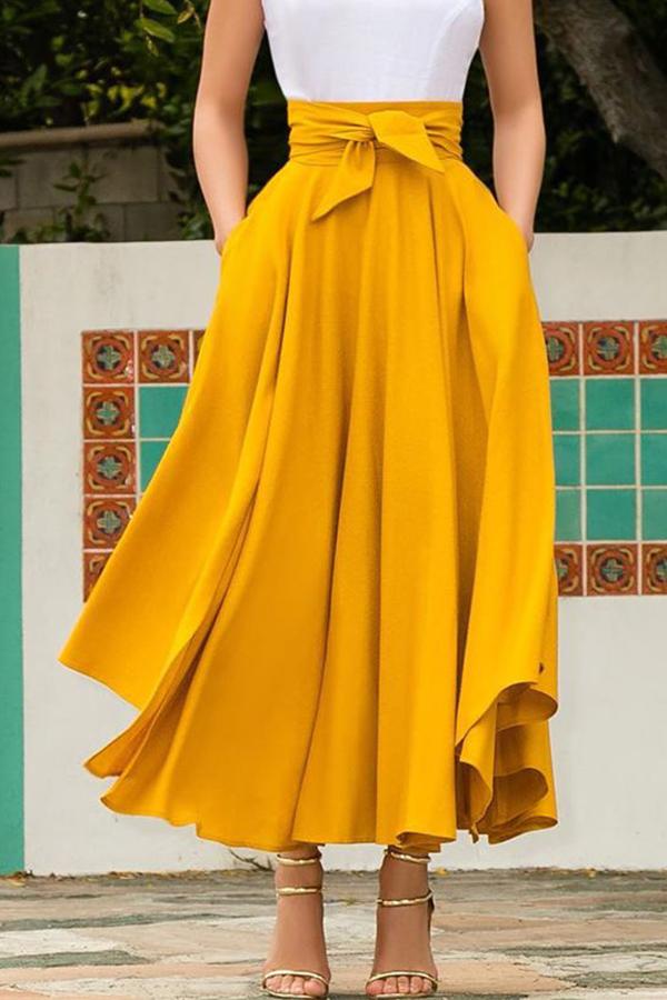 Lovely Sweet High Waist Yellow  Ankle Length A Line Skirt