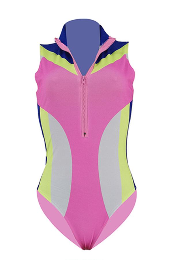 Lovely Patchwork Zipper Design Rose Red One-piece Swimwear