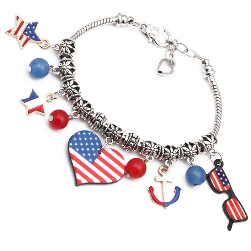 Lovely Independence Day Stylish Printed Patchwork Multicolor Bracelet