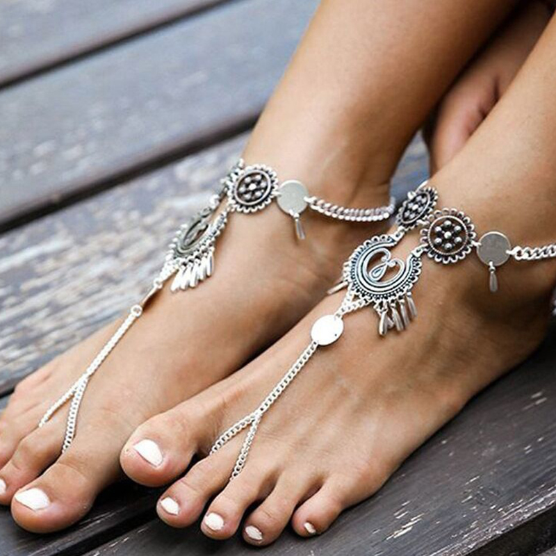 Lovely Ethnic Hollow-out Sliver Anklet Chain