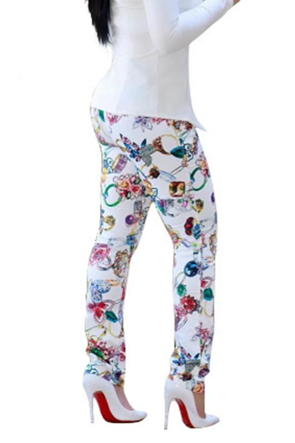 Lovely Polyester Print Skinny Mid Elastic Waist Yes(Elastic) Pants