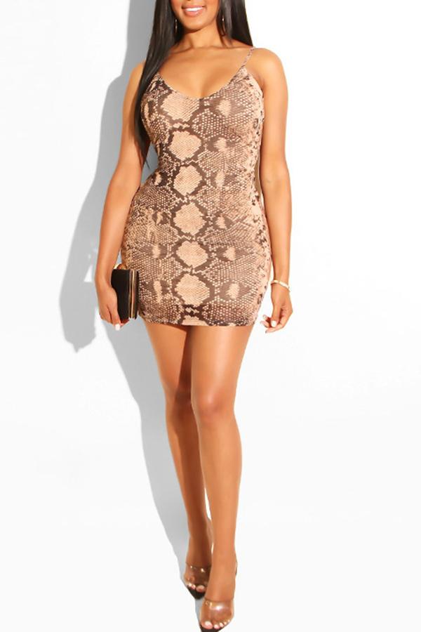 Lovely Trendy Snakeskin Printed Apricot Mini  Dress