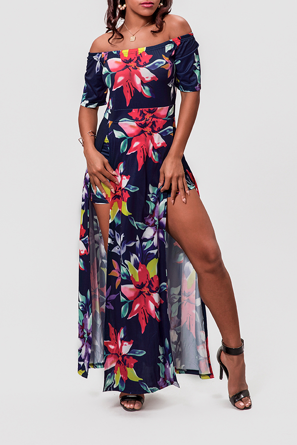 Lovely Casual Floral Printed Navy Blue One-piece Romper