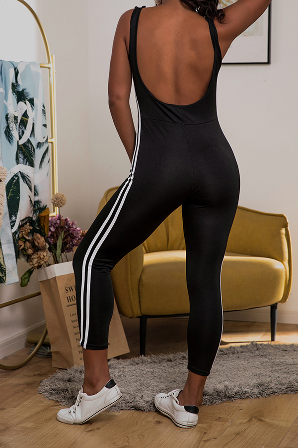 Lovely Trendy Backless Striped Black One-piece Jumpsuit