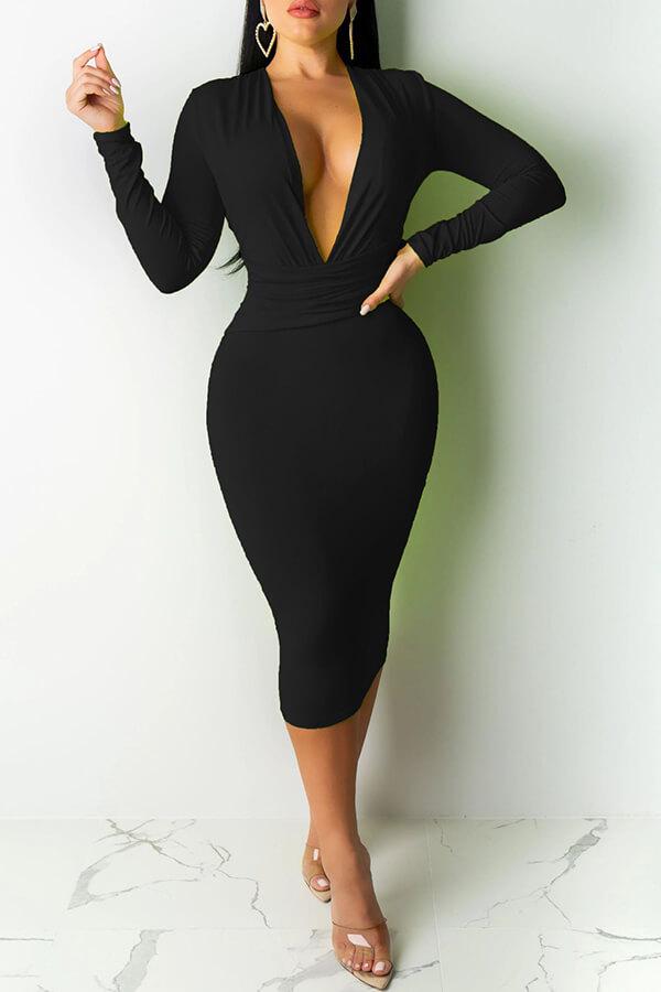 Lovely Casual Deep V Neck Black Mid Calf Dress