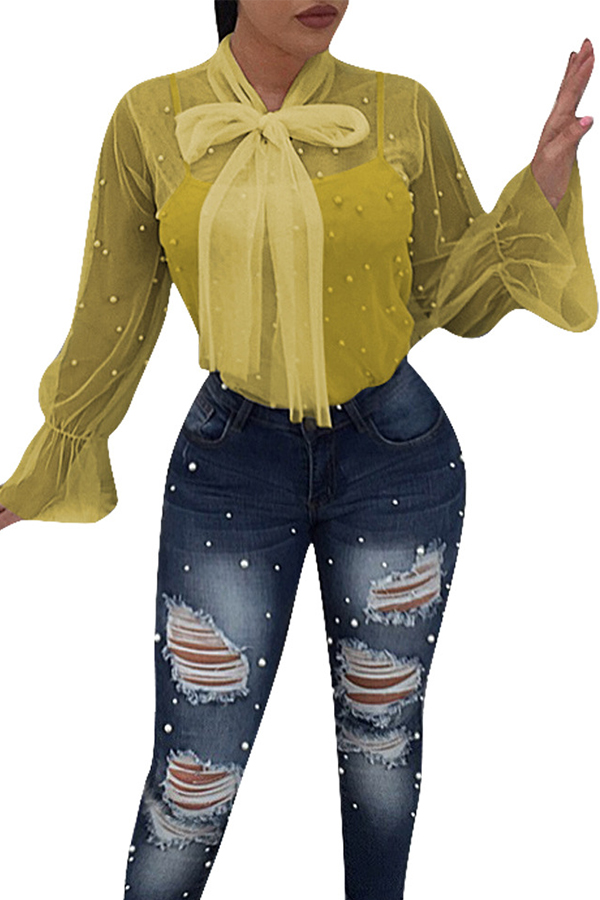 Lovely Chic See-through Yellow Blouse(With Lining)