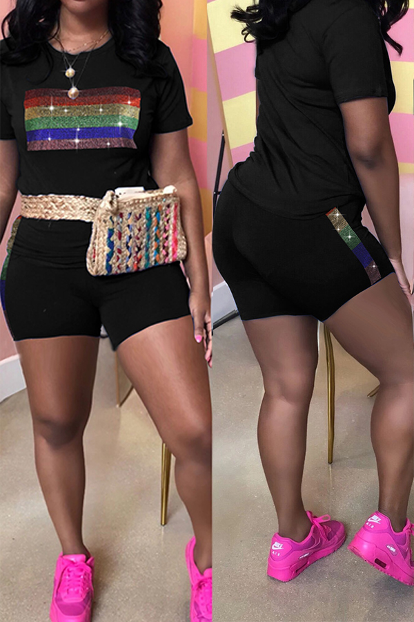 Lovely Trendy O Neck Hot Drilling Decorative Black Two-piece Shorts Set