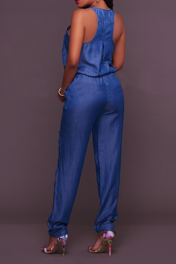 Lovely Trendy Sleeveless Blue One-piece Jumpsuit
