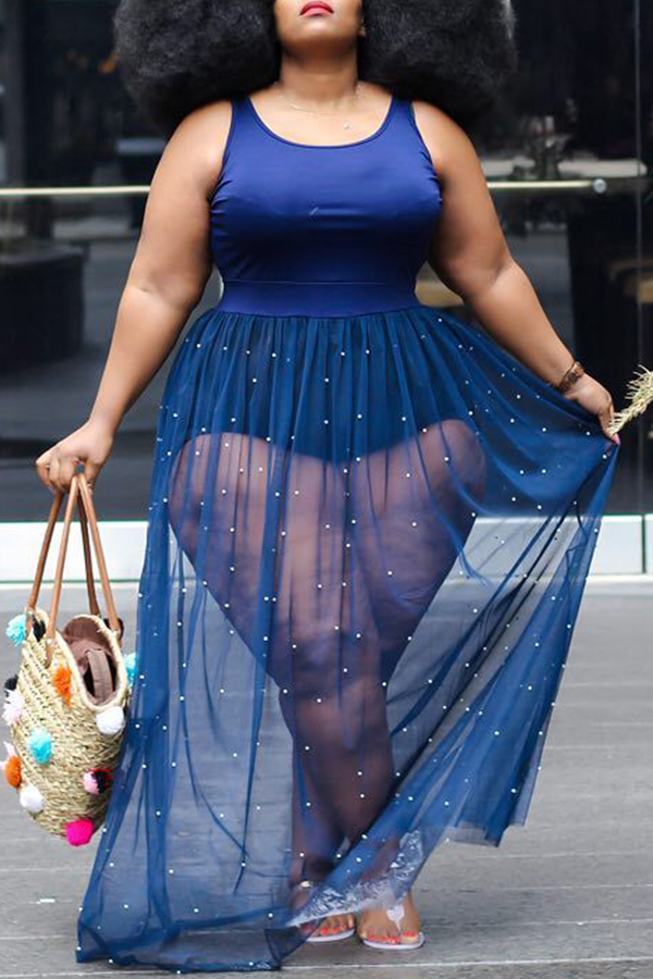 Lovely Casual Sleeveless Patchwork Blue  Plus Size Blouse