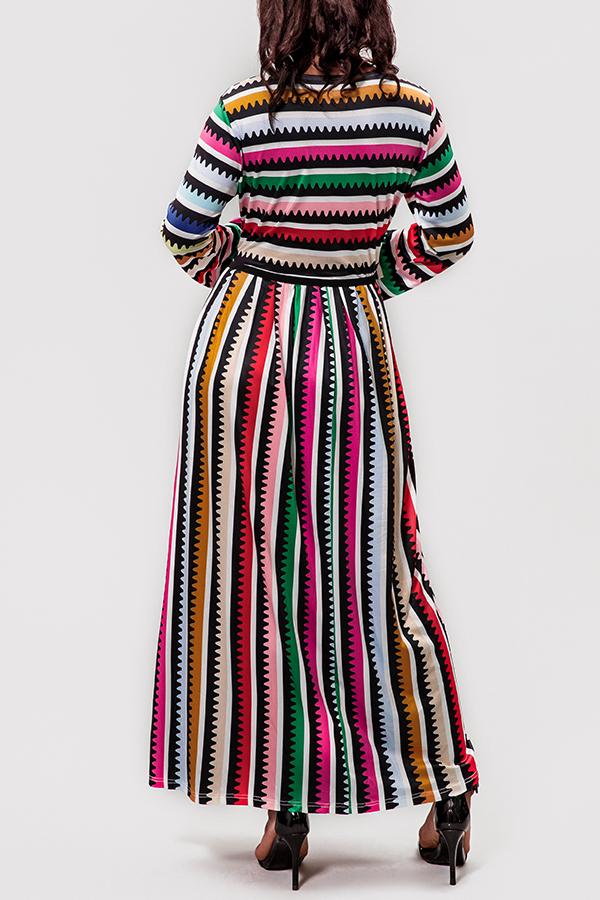 lovelywholesale / Lovely Trendy Striped Multicolor Ankle Length Dress