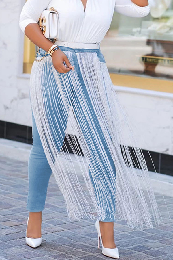 Lovely Casual Tassel Patchwork Baby Blue Jeans