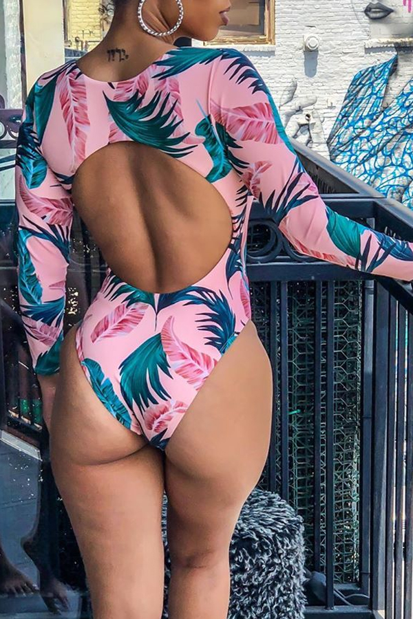 Lovely Hollow-out Printed Green One-piece Swimwear