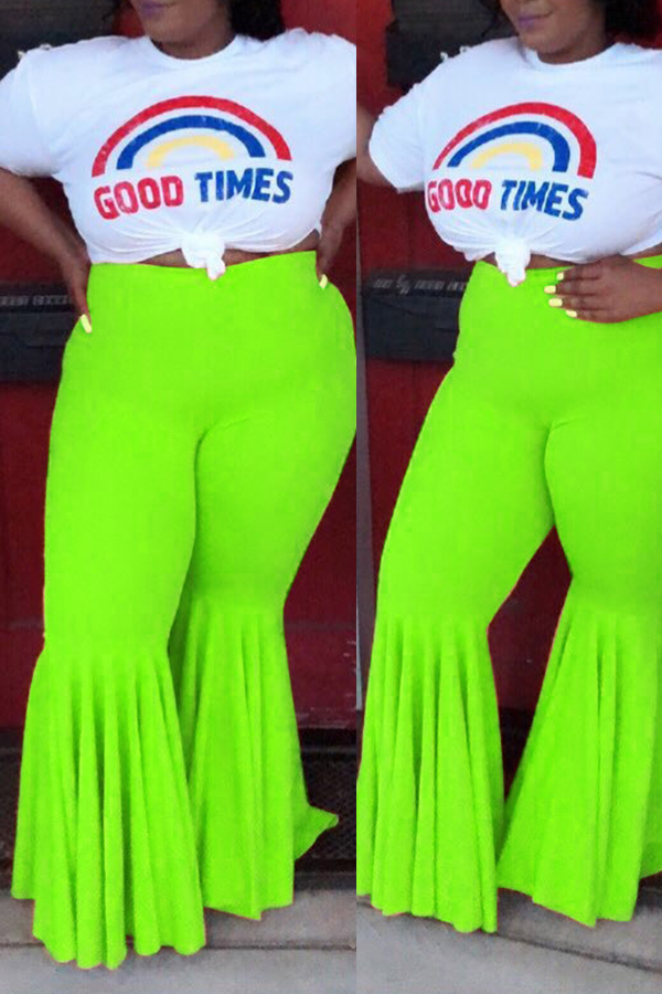 Lovely Casual Flounce Design Green Plus Size Pants